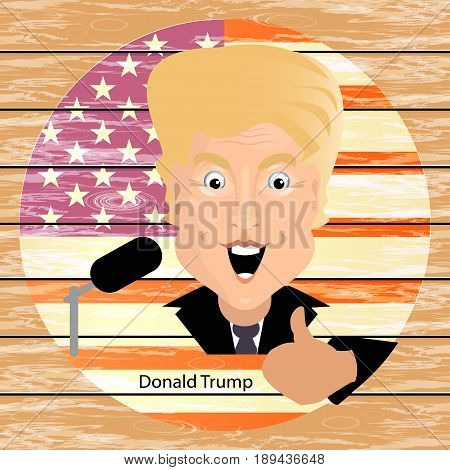 Donald Trump President of the United States and Independence Day. Illustration for your design. Vector. President thumbs up against a circle background. Wooden background.