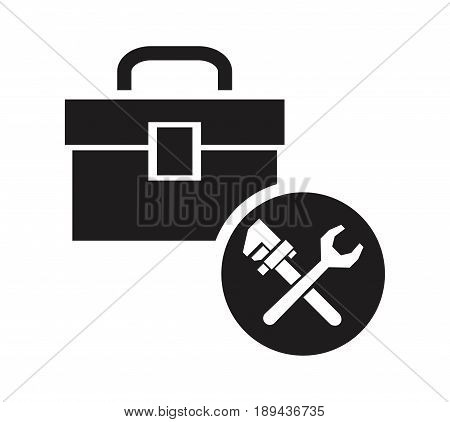 black silhouette kit plumbing with circular frame icon wrench crossed tools vector illustration