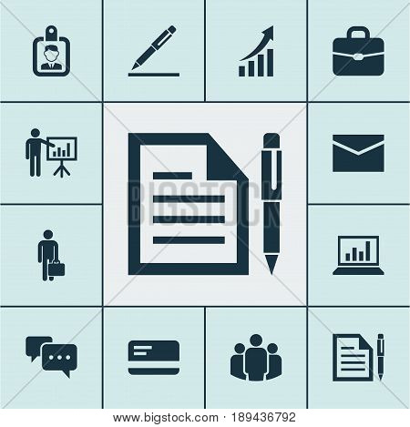 Trade Icons Set. Collection Of Id Badge, Diagram, Chatting And Other Elements. Also Includes Symbols Such As Businessman, Group, Mail.