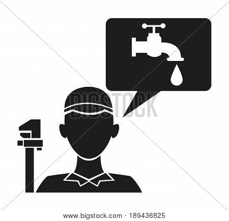 black silhouette plumber with wrench tool and dialogue box with faucet and drop vector illustration