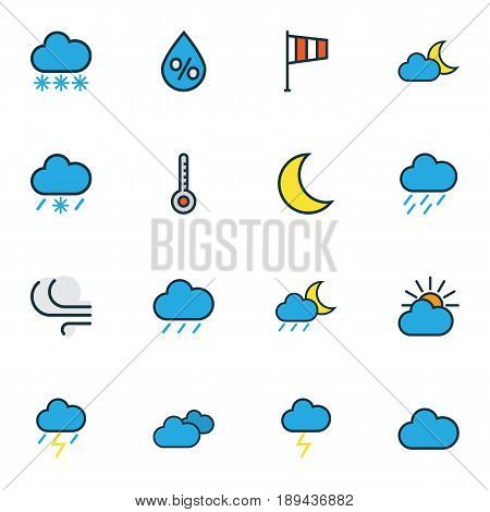Nature Colorful Outline Icons Set. Collection Of Tornado, Cloudburst, Flag And Other Elements. Also Includes Symbols Such As Storm, Solar, Flag.