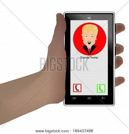 Donald Trump President of the United States and Independence Day. Illustration for your design. Vector. Smart phone. To answer a call. Important call.