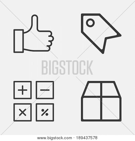 Ecommerce Icons Set. Collection Of Cardboard, Recommended, Calculation Tool And Other Elements. Also Includes Symbols Such As Recommend, Box, Label.