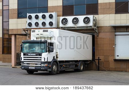 Belarus Orsha - April 11 2017: Truck on the unloading platform in the store