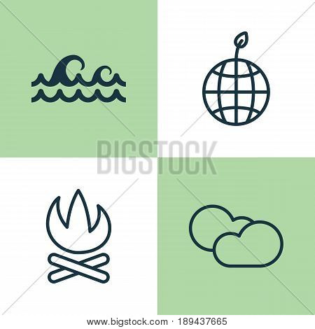 Ecology Icons Set. Collection Of World Ecology, Bonfire, Cloud Cumulus And Other Elements. Also Includes Symbols Such As Campfire, Weather, Fire.