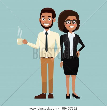 color background full body set pair of woman curly hair and bearded man characters for business vector illustration