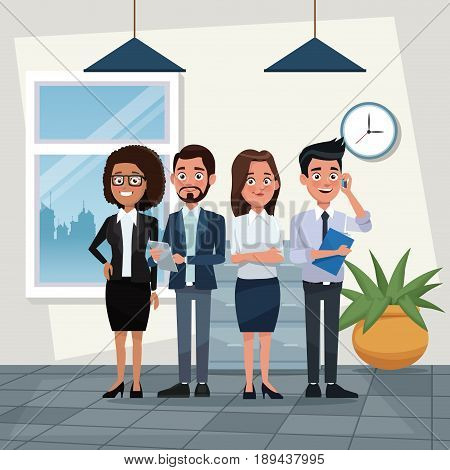 color background workplace office full body set of executives male and female characters for business vector illustration