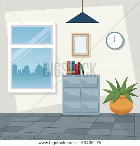 color scene background workplace office design vector illustration
