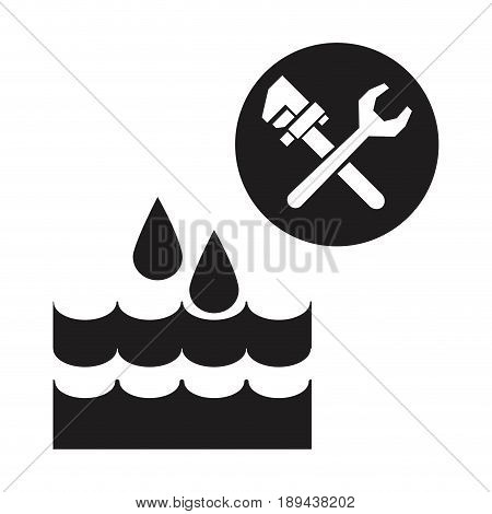 black silhouette drops falling into the water with wrench tools vector illustration