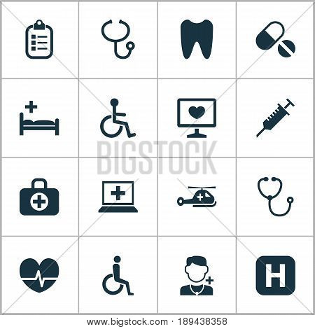 Antibiotic Icons Set. Collection Of Physician, Hospital, Disabled And Other Elements. Also Includes Symbols Such As Hospital, Copter, Diagnostics.