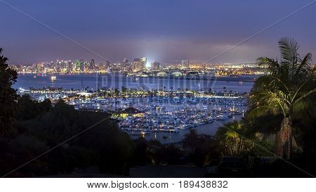 Downtown and harbor both seen in a huge panorama from Point Loma