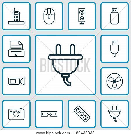 Icons Set. Collection Of Extension Cord, Ventilator, Video Camcorder And Other Elements. Also Includes Symbols Such As Usb, Electrical, Call.