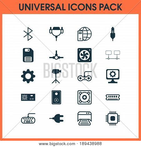Hardware Icons Set. Collection Of Chip, Audio Device, Computer Ventilation And Other Elements. Also Includes Symbols Such As Gamepad, Cooler, Console.