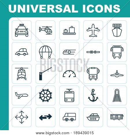Shipping Icons Set. Collection Of Lorry, Boat, Navigation Arrows And Other Elements. Also Includes Symbols Such As Aviation, Lorry, Helicopter.