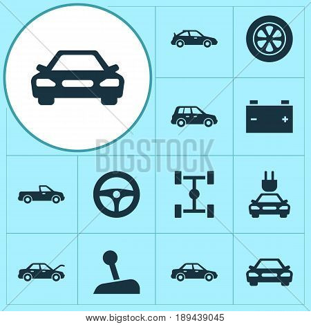Auto Icons Set. Collection Of Fixing, Car, Wheelbase And Other Elements. Also Includes Symbols Such As Sedan, Stick, Plug.