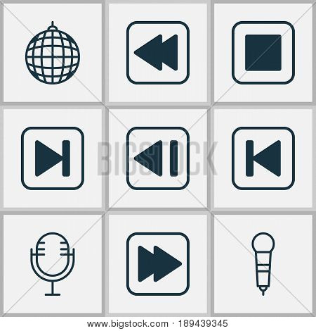 Music Icons Set. Collection Of Last Song, Run Song Back, Microphone And Other Elements. Also Includes Symbols Such As Button, Back, Ball.