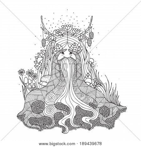 The spirit of the forest coloring for adults. Goblin coloring. Vector illustration