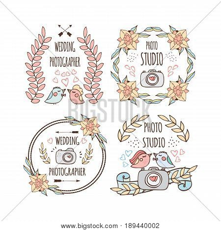 Photo studio and wedding photographer logo design in doodle style. Vector illustration