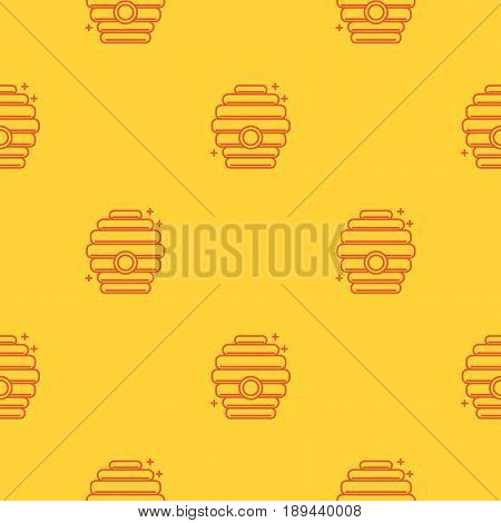 Beautiful Seamless pattern in a linear style on the theme of apiary and beekeeping. Bee houses, beehives. Texture for scrapbooking, wrapping paper, textiles, web page, wallpapers, surface design,