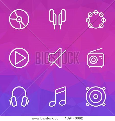 Music Outline Icons Set. Collection Of Headphones, Wireless, Circle And Other Elements. Also Includes Symbols Such As Mute, Plastic, Earphones.