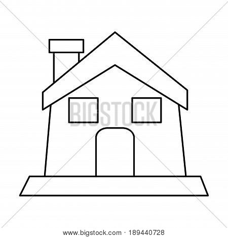 house or home with chimney icon image vector illustration design  black line