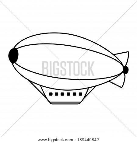 zeppelin balloon icon image vector illustration design  black line