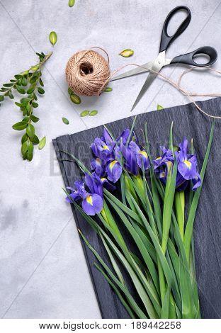 Fresh beautiful flowers on florist's workplace