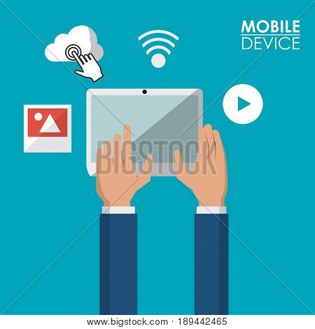colorful poster of mobile devices with tablet and common icons vector illustration