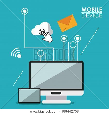 blue poster mobile device with desktop computer and tablet and link to common icons vector illustration