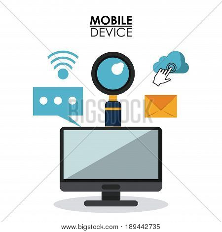 white background poster of mobile device with desktop computer and common icons in top view vector illustration