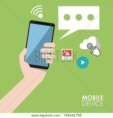 light green poster mobile device with hand holding smartphone and common icons in background vector illustration