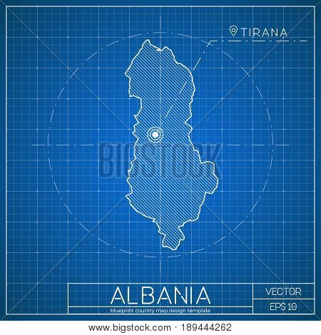 Albania Blueprint Map Template With Capital City. Tirana Marked On Blueprint Albanian Map. Vector Il