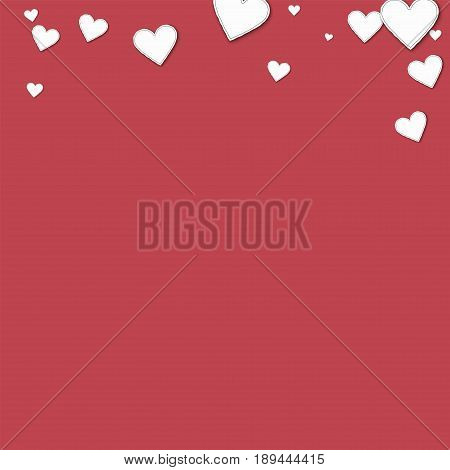 Cutout Paper Hearts. Abstract Top Border On Crimson Background. Vector Illustration.