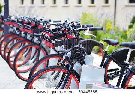 Black Red Bikes Lined Up on Street of Galway Ireland