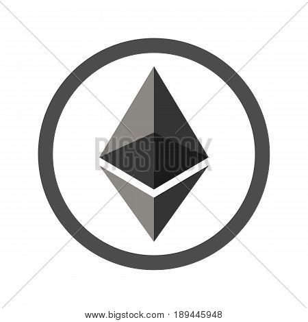Ethereum flat icon for internet money. Crypto currency symbol and coin image. Blockchain based secure cryptocurrency. For using in web projects or mobile applications. Isolated vector illustration.