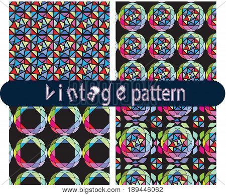 geometric mosaic pattern. Mosaic seamless pattern. Ceramic tile fragments. Abstract Mosaic texture. Mosaic design element. Vector Mosaic background.