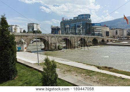 SKOPJE, REPUBLIC OF MACEDONIA - 13 MAY 2017: Skopje City Center, Old Stone Bridge and Vardar River, Republic of Macedonia