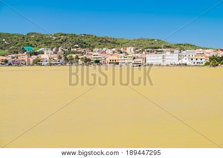 Abandoned salt pans in Carloforte San Pietro Island Sardinia Italy.