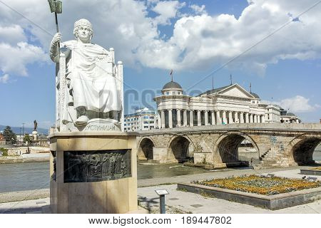 SKOPJE, REPUBLIC OF MACEDONIA - 13 MAY 2017:  Statue of the Byzantine Emperor Justinian I and Archaeological Museum, Republic of Macedonia