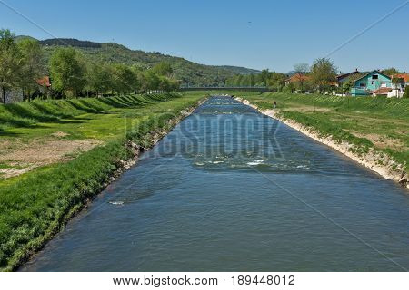 PIROT, SERBIA - 16 APRIL 2016: Amazing Landscape of Nisava river passing through the town of Pirot, Republic of Serbia