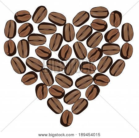 vector illustration of coffee bean heart isolated on white background