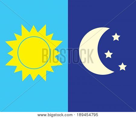 Vector illustration of day and night. Day and night concept sun and moon day and night clouds and stars icon