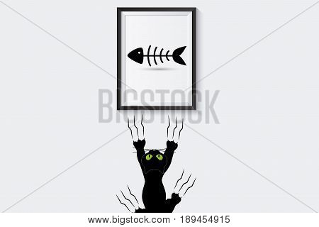 Business Challenge Concept : Black cat watching fishbone in frame and clambering with claws on white wall. (3D Illustration)