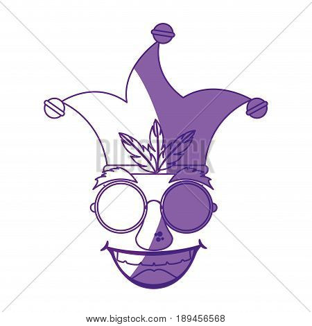 comic face with  harlequin hat icon over white background vector illustration