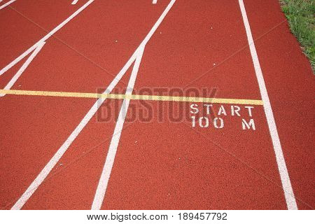 100 m yellow start line on a track