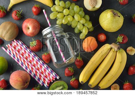 Ingredients for smoothies on a gray background