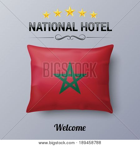 Realistic Pillow and Flag of Morocco as Symbol National Hotel. Flag Pillow Cover with Moroccan flag