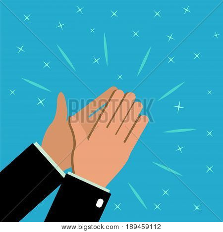 Human businessman hands clapping. applauding hands. Ovation of the hall delight. Illustration in flat style.