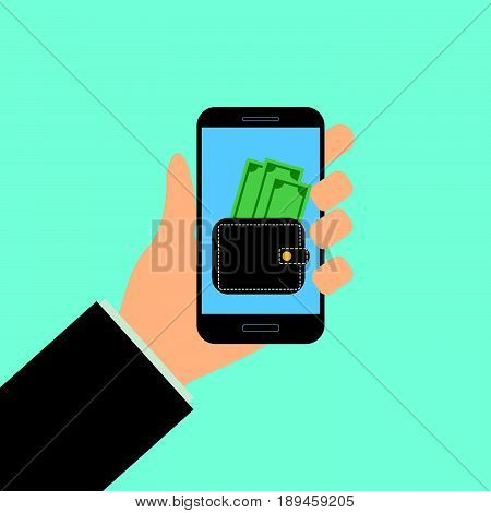 Wallet app page on smartphone screen. Hand hold smartphone. Mobile wallet account. Modern concept for web banner web site infographic. Creative flat design illustration
