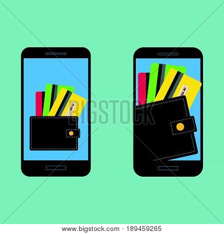 Digital mobile wallet concept icon. Smartphone screen with wallet and credit cards on screen. Internet banking concept wireless money transfer.